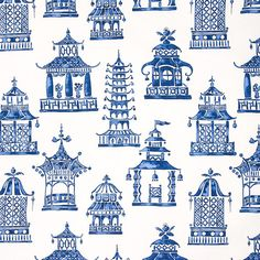 Make a STATEMENT! High-end, cotton print fabric by the yard pattern: PAGODA INDIGO content: 100% Cotton size: 54 wide repeat: 27 vertical