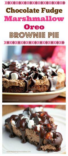 Chocolate Fudge Marshmallow Oreo Brownie Pie | The Baking ChocolaTess.com