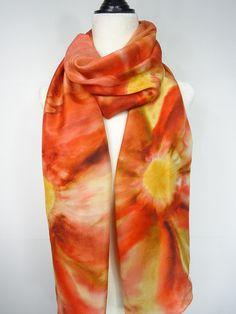 8fc2c97dffee Hand painted silk scarf floral orange scarlet red scarf. Seide, Rote  Schals, Seidentücher