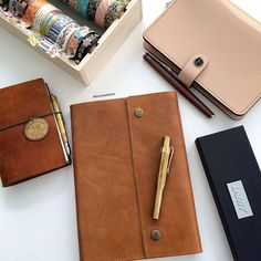 """❤️Rachel Chen on Instagram: """"Loving lately: leather journal that matches perfectly with my Midori from my bff and a Lamy studio bronze limited edition pen #journal #leather #fountainpen #Lamy #Kaweco #midoritravelersnotebook #washi"""""""