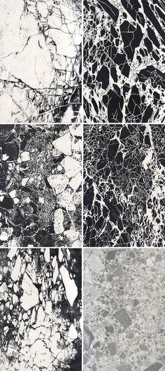 Monochrome Marble - black & white marbled print design More