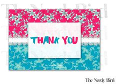Pink and Blue Floral White Lace Printable Thank You Card by TheNerdyBird1, $5.00