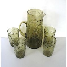 SALE, Vintage Italian Green Glass Juice Pitcher and Glasses Set, Ice... ($55) ❤ liked on Polyvore featuring home, kitchen & dining, drinkware, iced tea glassware, juice glassware, juice glasses set and iced tea glasses set