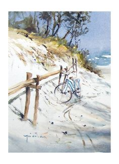 For the love of art: Michał Jasiewicz - Dotti Ten Broek Watercolor Painting Techniques, Watercolor Artists, Watercolor Landscape, Watercolor Paintings, Watercolors, Bicycle Painting, Bicycle Art, Andrew Wyeth, Arno