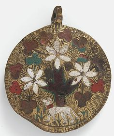 Pendant  Date: 14th century Geography: Made in, Limoges, France Culture: French Medium: Champlevé enamel, copper, gilt Dimensions: Overall: 2 13/16 x 2 3/8 x 1/4 in. (7.2 x 6 x 0.7 cm)  Accession Number: 17.190.801  Metropolitan Museum of Art