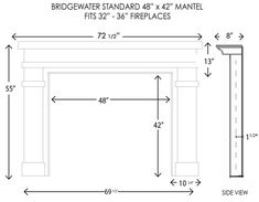 Bridgewater Fireplace Mantel Standard Sizes