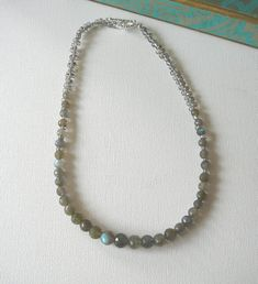 Labradorite necklace Semi precious stone necklace by KarsJewellery