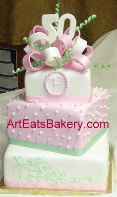 fun birthday cakes ladies | ... unique modern elegant lady's 50th birthday cake with monogram, pearls
