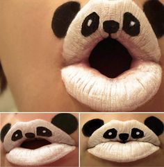 "I just love Panda's, so this caught my eye. Some background behind it though: Paige Thompson (aka, Viridis-Somnio) a body paint artist from United States, has been creating this adorable series of lipstick art animals called ""Animal-ipsticks"" with an old set of Kryolan face paints that her family has used for Halloween over the last 21 years."