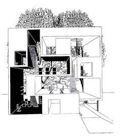 sección en alzado de una casa doble en Utrecht diseñada por MVRDV en 1995