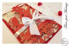 Lasercut wedding invitation - Faire-part Mariage -Modèle arabesque - Bella en rouge et blanc irisé - Faire-part ciselé, découpe façon laser Lasercut, Arabesque, Orchids, Creations, Invitation, Gift Wrapping, Gifts, Laser Cutting, Personalised Gifts