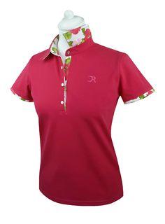 """Polo Golf """"Première fleur"""" manches courtes framboise"""
