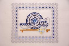 Cottage chic home decor. Housewarming gift by MeandMamaCreations on Etsy Cottage Chic, Hostess Gifts, Mother Day Gifts, House Warming, Blue Grey, Mothers, Kitchen Decor, Cross Stitch, Decor Ideas