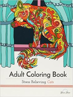 Adult Coloring Book Stress Relieving Cats