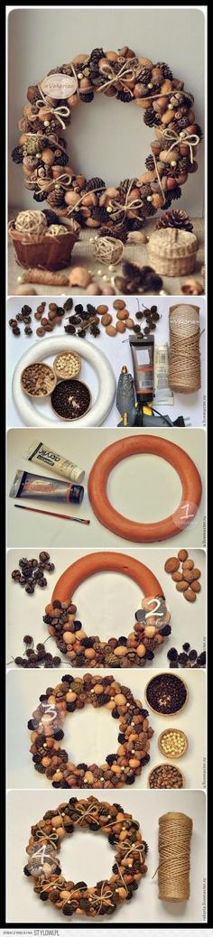 Cones, Acorns, Nuts, Coffee - New Deko Sites Pine Cone Crafts, Christmas Projects, Fall Crafts, Holiday Crafts, Christmas Time, Christmas Wreaths, Diy And Crafts, Christmas Ornaments, Pallet Christmas