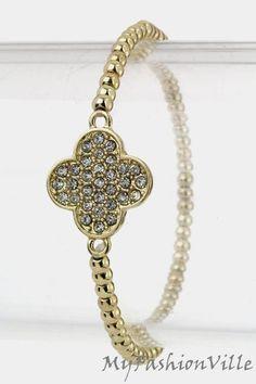 Lucky Clover Stretch Bracelet (Gold Tone) - $19