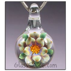 SALE Glass Flower Necklace Focal by Glass Peace $17.50