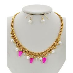 """Horn Charm Necklace Set Gold Tone / Pink Mother Of Pearl / Cream Synthetic Pearl / Lead&nickel Compliant / Fish Hook (earrings) / Horn Charm / Necklace & Earring Set •   LENGTH : 18 1/4"""" + EXT •   EARRING : 1"""" •   DROP : 1 1/8""""  •   GOLD/PINK/PEARL R.E.A.L Jewelry Jewelry Necklaces"""