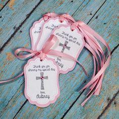 12 Baptism Personalized Favor tags Cross by GlitzandBowsbyJackie