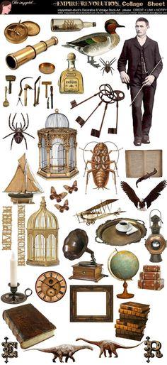 Steampunk Collage Sheet ~ Empire Revolution Collage Sheet by *Beinspyred on deviant ART