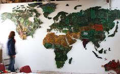 great series of 7 photos of world photos made from recycled computers!