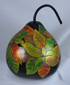 Gourds by Grace Swanson Decorative Gourds, Hand Painted Gourds, Gourds Birdhouse, Birdhouses, Diy And Crafts, Arts And Crafts, Gourd Lamp, Pottery Painting, Craft Work