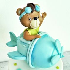 Topper cake orsetto aereoplano