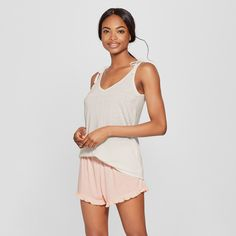 6798867a85 Women s Tank Top and Ruffle Shorts Pajama Set - Xhilaration™ White XS