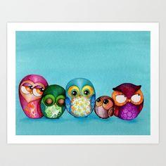 Fabric Owl Family Art Print by Annya Kai - $22.88