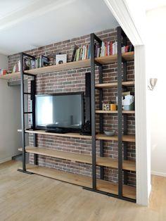 Système de rangement en acier et bois massif / Bibliothèque, meuble TV ou dressing  / Fabrication artisanale française