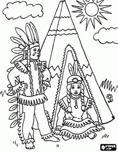 Indian American couple in front of their tent in the village coloring page