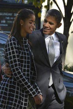 President Obama and Malia walk from Church