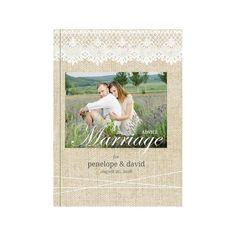 Vintage Burlap Lace Wedding Personalized Advice Book
