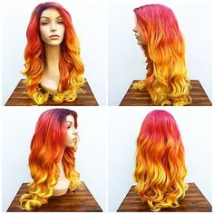 """Custom """"fire"""" ombré for to wear at , this might be one of my favorite units I've made. DM me for custom orders or inquiries. Phoenix Makeup, Wigs, Halloween Costumes, Hair Styles, Hair Ideas, Instagram, Google Search, Bffs, Hair Plait Styles"""