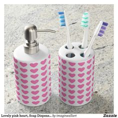 Lovely pink heart, Soap Dispenser &Toothbrush