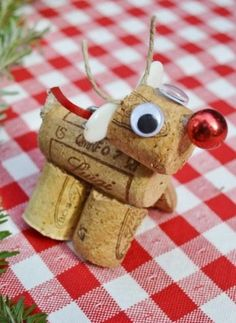 Rudolph the red nosed rendeer, made from wine cork