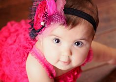 SWEET TEMPTATION hairpiece for infants, photoshoots, special occasions. in pink and black. $45.00, via Etsy.