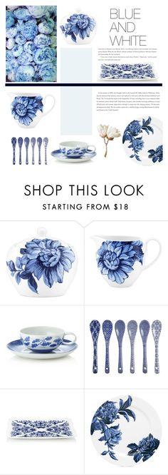 """Blue+white"" by einn-enna ❤ liked on Polyvore featuring interior, interiors, interior design, home, home decor, interior decorating, Lenox, Mottahedeh, Tokyo Design Studio and Richard Ginori"