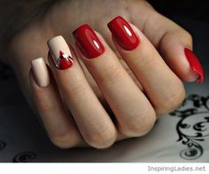 Red and nude gel manicure | Inspiring Ladies