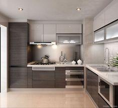 New Kitchen Cabinets Modern Design Gray Ideas Kitchen Room Design, Kitchen Sets, Living Room Kitchen, Kitchen Layout, Interior Design Kitchen, Modern Interior Design, New Kitchen, Kitchen Decor, Kitchen Small
