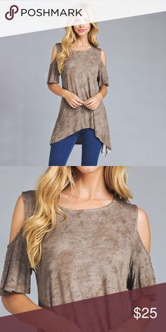 "🆕New Arrival Asymmetrical open shoulder Tee Mocha Crackle open shoulder Asymmetrical short sleeves scoop neck Tee. Soft and light summer material with a mocha brown crackle wash. 96%Rayon 4%spandex made in the USA measurements Bust S-18"" M-19"" L-20"" XL-21"" Length S-26/29"" M-27/30"" L-28/31"" XL-29/32"" Angelique's Atelier Tops"