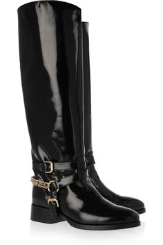 Loving these McQ Alexander McQueen | Patent-leather riding boots #shoeoftheday