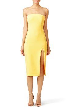 Strapless yellow midi dress with slit. Perfect for a summer wedding!  Jay Godfrey Sunflower Thompson Dress