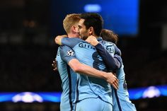 Ilkay Gundogan of Manchester City (C) celebrates scoring his sides first goal with his team mates during the UEFA Champions League Group C match between Manchester City FC and FC Barcelona at Etihad Stadium on November 1, 2016 in Manchester, England.