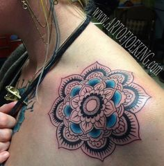 mandala with pop of color - Joe King - Flower Mandala with Turquoise (at a tattoo shop like 20 min away)