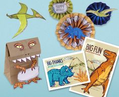 FREE !!!! Dinosaur Delight Party Kit- Super cute paper printable dinosaurs, thank you cards, favor bag, decorations, and invitations.