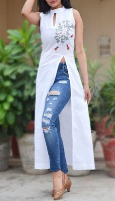 A line kurti - Buy White Pure Linen Embroidered ALine Kurti by Colorauction Online shopping for Kurtis in India Dress Indian Style, Indian Wear, Indian Designer Outfits, Designer Dresses, Indian Outfits, Designer Kurtis, Indian Dresses, Kurta Designs Women, Blouse Designs