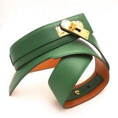 Vintage Hermes 1989 Model Green Gold Kelly Belt
