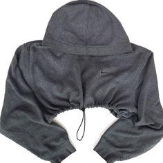 QUEENS | Reworked Nike Crop Hoody - Charcoal