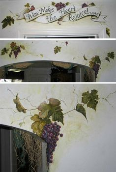 Grapevine Mural by AthenaTT on DeviantArt Mural Wall Art, Mural Painting, Cool Paintings, Watercolor Paintings, Wall Wallpaper, Pattern Wallpaper, Faux Painting Techniques, Wine Bottle Wall, Bedroom Drawing